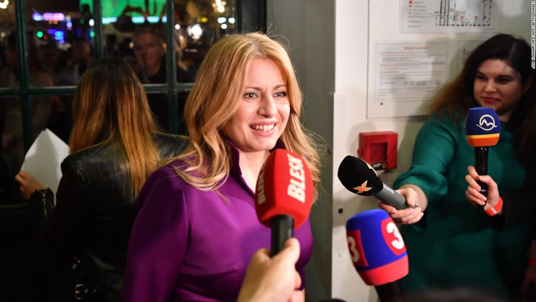 "Newly Slovak President Zuzana Caputova said the result showed ""it is possible not to succumb to populism."""