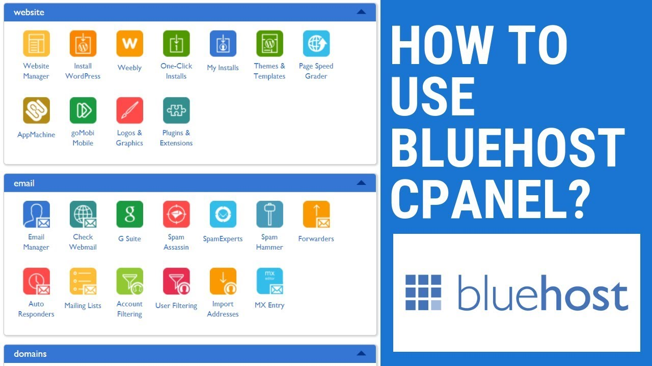 How To Use Bluehost cPanel - How To Use Bluehost cPanel and Dashboard - Bluehost cPanel
