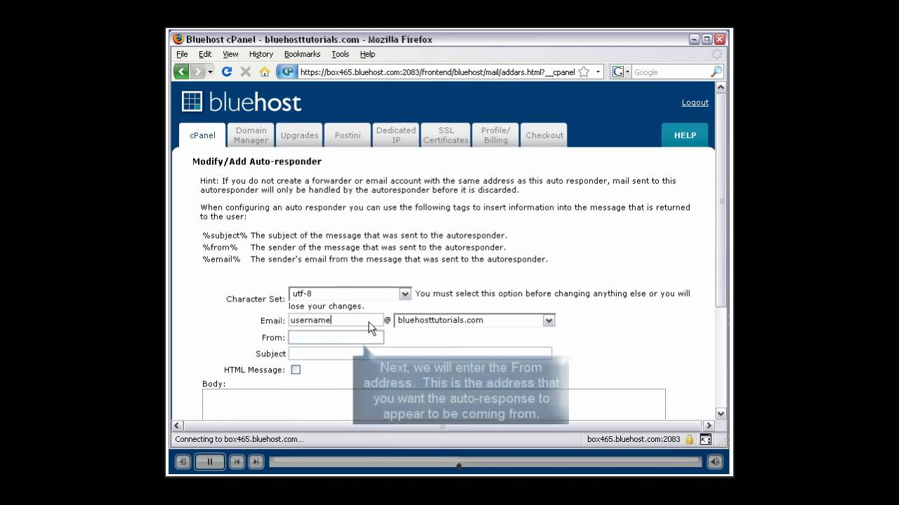How to create autoresponder with Blue Host