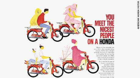 Honda's 1963 marketing campaign dubbed 'You meet the nicest people on a Honda' aimed to disconnect motorcycles from the rugged, counterculture biker image embodied by US brands.