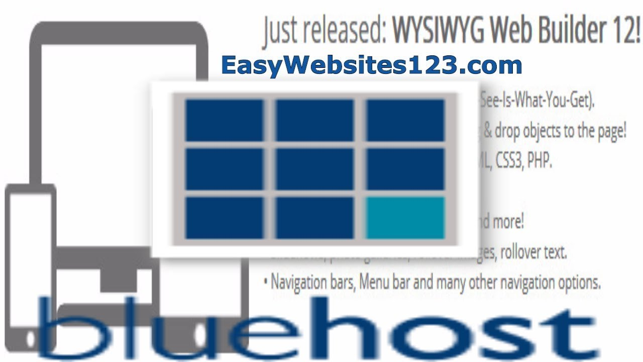 BlueHost  WYSIWYG Web Builder 11 12  Drag and Drop PHP Web Designer Introduction and Reviews jquery