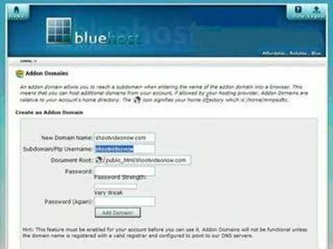 How to add a domain name to your BlueHost account