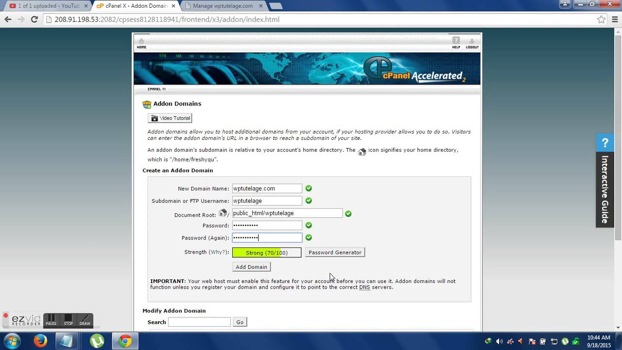 how to add addon domain (Website) in bluehost cpanel