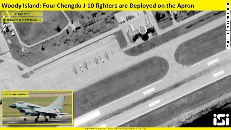 Image from ImageSat International shows Chinese J-10 fighters deployed to Woody Island in the South China Sea.