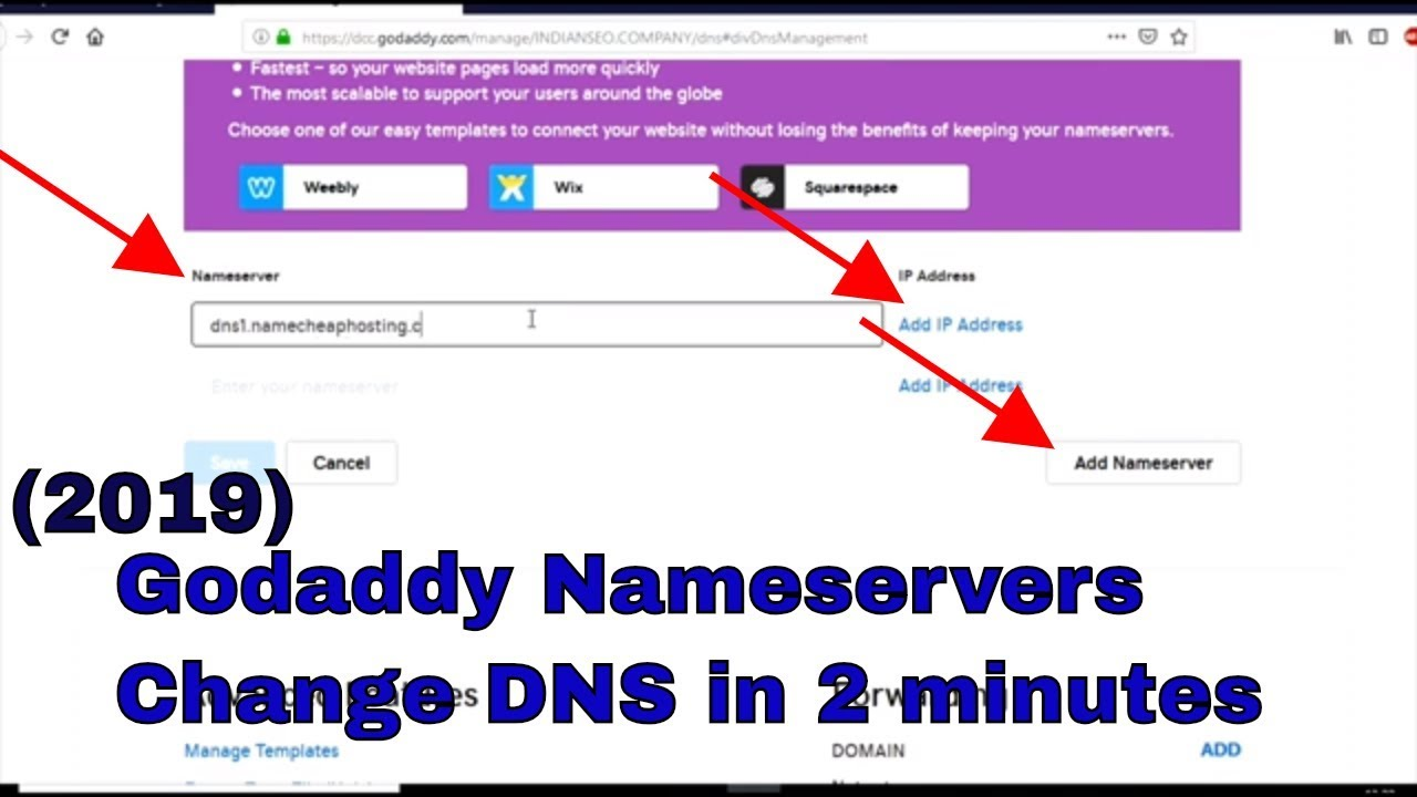 Godaddy Nameservers - change DNS in 2 minutes (2019)