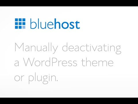 How to manually deactivate a WordPress plugin or theme