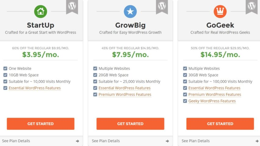 SiteGround StartUp vs  GrowBig vs  GoGeek