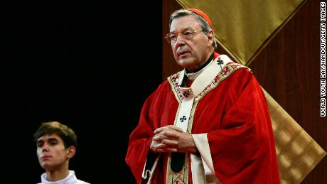 Cardinal George Pell is seen addressing the audience during the Opening Mass of Welcome of World Youth Day Sydney 2008 at Barangaroo on July 15, 2008 in Sydney, Australia.