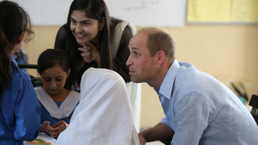 The Duke of Cambridge , Prince William accompanied by The Duchess of Cambridge Kate Middleton , VISIT a School in Islamabad today on a visit you Pakistan