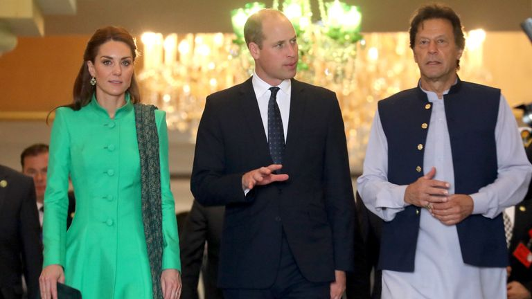 Catherine, Duchess of Cambridge and Prince William, Duke of Cambridge leave after meeting Pakistan's Prime Minister Imran Khan at his official residence on October 15, 2019