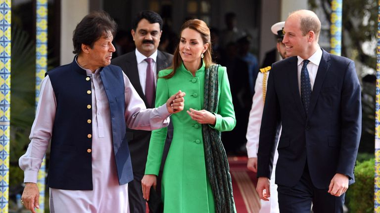 Prince William and Kate with Imran Khan in Pakistan